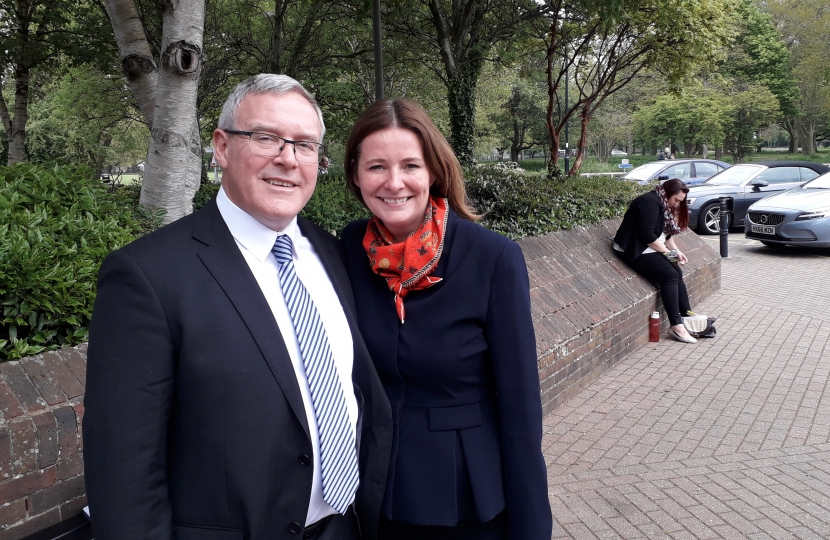 District  Cllr Roy Briscoe (wesbourne elected May 2019) with Gillian Keegan MP